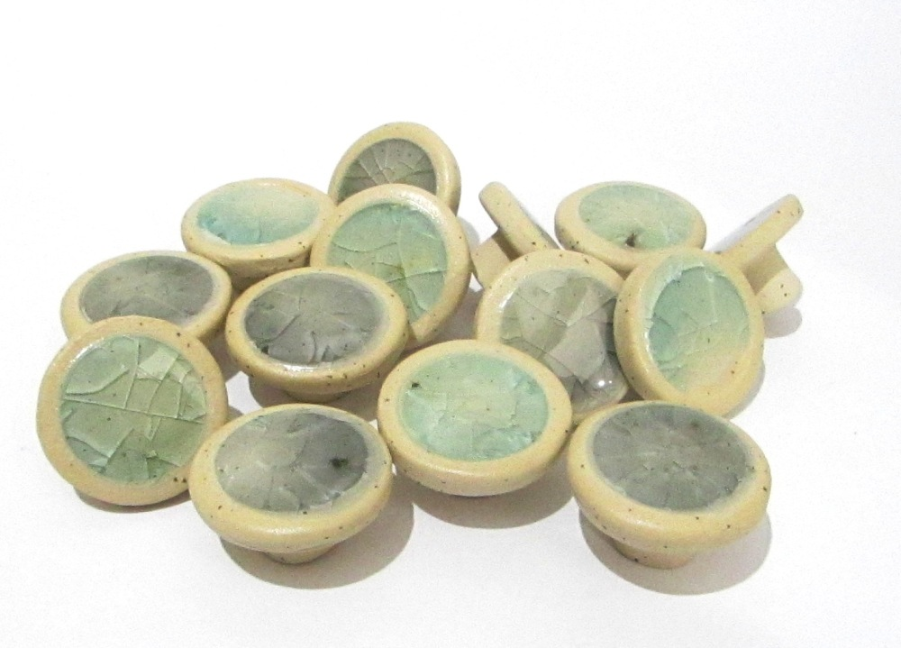 Cabinet Knobs, Ceramic Handles, Recycled glass